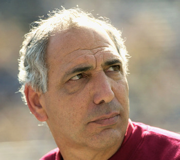 ANN ARBOR, MI - SEPTEMBER 27:  Head coach Gerry DiNardo of the Indiana University at Bloomington Hoosiers watches as his team lose to the University of Michigan Wolverines at Michigan Stadium on September 27, 2003 in Ann Arbor, Michigan. Michigan defeated
