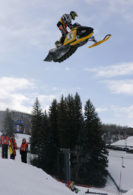 ASPEN, CO - JANUARY 30:  Blair Morgan #7c of Canada works on the course during SnoCross practice at the Winter X Games Nine on January 30, 2005 at Buttermilk in Aspen, Colorado.  (Photo by Brian Bahr/Getty Images)