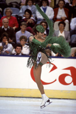 CINCINNATI - 1987:  Figure skater Katarina Witt of East Germany performs in the 1987 World Figure Championships in Cincinnati, Ohio.  Katarina Witt is a Four-time World Figure Skating Champion.  (Photo by Tony Duffy/Getty Images)