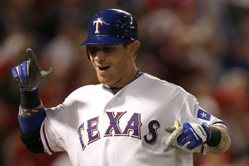 ARLINGTON, TX - OCTOBER 30:  Josh Hamilton #32 of the Texas Rangers reacts after he hit a solo home run in the bottom of the fifth inning against the San Francisco Giants in Game Three of the 2010 MLB World Series at Rangers Ballpark in Arlington on Octob