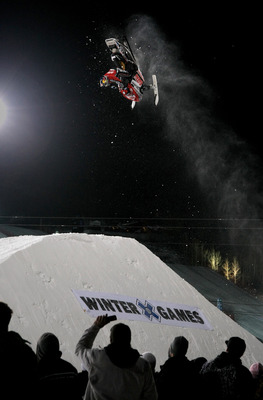 ASPEN, CO - JANUARY 22:  Levi LaVallee of Longville, Minnesota does a backflip in the semifinals enroute to a second place finish in the Snowmobile Speed and Style at Winter X Games 13 on Buttermilk Mountain on January 22, 2009 in Aspen, Colorado.  (Photo