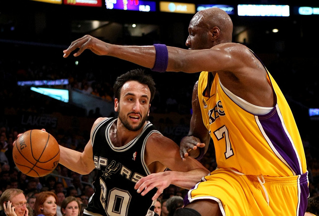 LOS ANGELES, CA - MAY 29:  Manu Ginobili #20 of the San Antonio Spurs drives to the basket against Lamar Odom #7 of the Los Angeles Lakers in Game Five of the Western Conference Finals during the 2008 NBA Playoffs on May 29, 2008 at Staples Center in Los