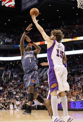 PHOENIX - JANUARY 26:  Stephen Jackson #1 of the Charlotte Bobcats puts up a shot during the NBA game against the Phoenix Suns at US Airways Center on January 26, 2010 in Phoenix, Arizona. The Bobcats defeated the Suns in overtime.  114-109.  NOTE TO USER