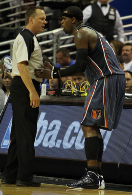 ORLANDO, FL - APRIL 21:  Stephen Jackson #1 of the Charlotte Bobcats protests a call to official Bill Spooner while taking on the Orlando Magic in Game Two of the Eastern Conference Quarterfinals during the 2010 NBA Playoffs at Amway Arena on April 21, 20
