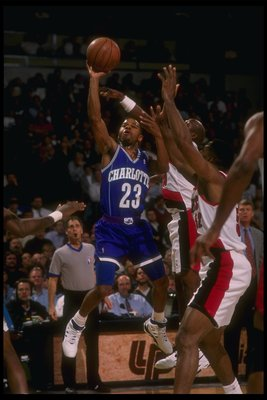 2 Mar 1995:  Guard Michael Adams of the Charlotte Hornets moves the ball during a game against the Portland Trail Blazers at the Rose Garden in Portland, Oregon.  The Hornets won the game, 109-99. Mandatory Credit: Otto Greule Jr.  /Allsport