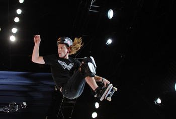 LOS ANGELES, CA - JULY 30:  Shaun White competes to a silver medal in the Skateboard Vert Final during X Games 16 at the Nokia Theatre LA Live on July 30, 2010 in Los Angeles, California.  (Photo by Harry How/Getty Images)