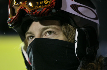 PARK CITY, UT - JANUARY 23:  Shaun White looks on as he is interviewed by television after winning the US Snowboarding Grand Prix on January 23, 2010 in Park City, Utah.  (Photo by Doug Pensinger/Getty Images)