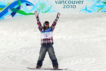 VANCOUVER, BC - FEBRUARY 17:  Shaun White of the United States reacts after winning the gold medal in the Snowboard Men's Halfpipe final on day six of the Vancouver 2010 Winter Olympics at Cypress Snowboard & Ski-Cross Stadium on February 17, 2010 in Vanc
