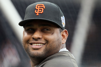 SAN FRANCISCO - OCTOBER 27:  Pablo Sandoval #48 of the San Francisco Giants smiles during batting practice before Game One of the 2010 MLB World Series against the Texas Rangers at AT&T Park on October 27, 2010 in San Francisco, California.  (Photo by Els