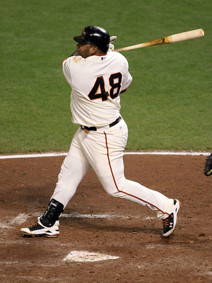 SAN FRANCISCO - OCTOBER 20:  Pablo Sandoval #48 of the San Francisco Giants hits an RBI double in the sixth inning against the Philadelphia Phillies in Game Four of the NLCS during the 2010 MLB Playoffs at AT&T Park on October 20, 2010 in San Francisco, C