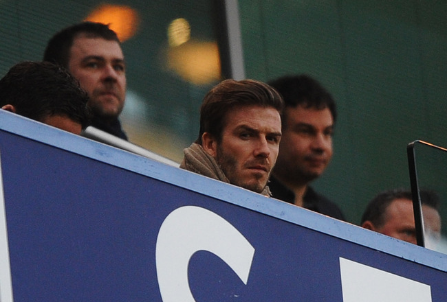 LONDON, ENGLAND - FEBRUARY 06:  David Beckham looks on during the Barclays Premier League match between Chelsea and Liverpool at Stamford Bridge on February 6, 2011 in London, England.  (Photo by Laurence Griffiths/Getty Images)