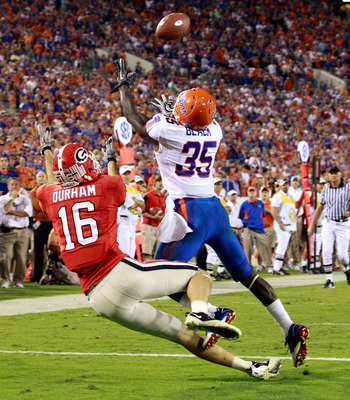 JACKSONVILLE, FL - OCTOBER 30:  Ahmad Black #35 of the Florida Gators breaks up a pass to Kris Durham #16 of the Georgia Bulldogsduring the game at EverBank Field on October 30, 2010 in Jacksonville, Florida.  (Photo by Sam Greenwood/Getty Images)