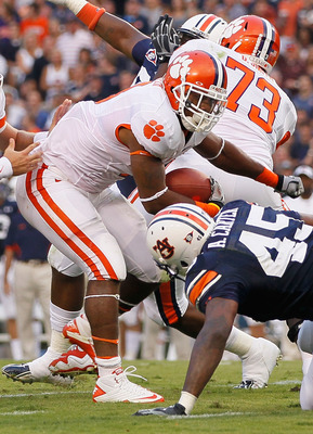 AUBURN, AL - SEPTEMBER 18:  Jamie Harper #8 and quarterback Kyle Parker #11 of the Clemson Tigers against the Auburn Tigers at Jordan-Hare Stadium on September 18, 2010 in Auburn, Alabama.  (Photo by Kevin C. Cox/Getty Images)
