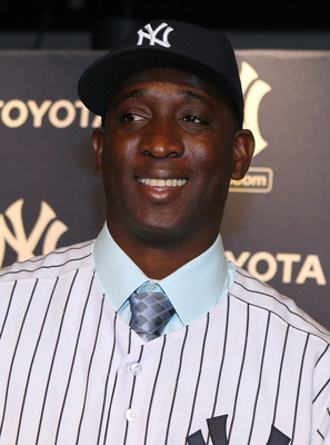 NEW YORK, NY - JANUARY 19:  Rafael Soriano of the New York Yankees smiles after his introduction press conference on January 19, 2011 at Yankee Stadium in the Bronx borough of New York City. The Yankees signed Soriano to a three year contract.  (Photo by