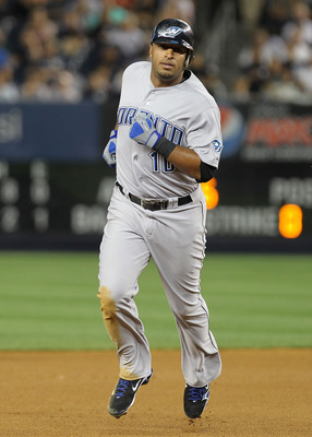 NEW YORK - AUGUST 03: Vernon Wells #10 of the Toronto Blue Jays rounds the bases on his eighth inning home run against the New York Yankees at Yankee Stadium on August 3, 2010 in the Bronx borough of New York City.  (Photo by Nick Laham/Getty Images)