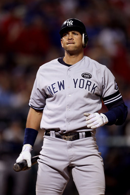 ARLINGTON, TX - OCTOBER 22:  Alex Rodriguez #13 of the New York Yankees reacts against the Texas Rangers in Game Six of the ALCS during the 2010 MLB Playoffs at Rangers Ballpark in Arlington on October 22, 2010 in Arlington, Texas.  (Photo by Elsa/Getty I