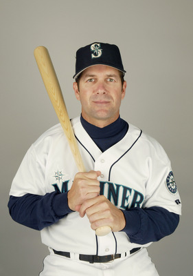 PEORIA, AZ - FEBRUARY 27:  Designated hitter Edgar Martinez #11 of the Seattle Mariners poses for a portrait during the 2004 MLB Spring Training Photo Day at Peoria Stadium on February 27, 2004 in Peoria, Arizona. (Photo by Harry How/Getty Images)