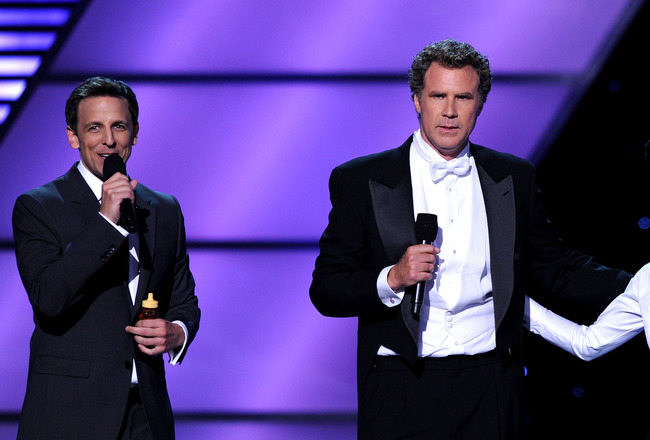 LOS ANGELES, CA - JULY 14:  (L-R) Host Seth Meyers, actor Will Ferrell and singer Janelle Monae perform onstage during the 2010 ESPY Awards at Nokia Theatre L.A. Live on July 14, 2010 in Los Angeles, California.  (Photo by Kevin Winter/Getty Images)