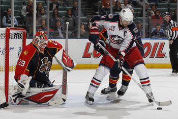SUNRISE, FL - JANUARY 19: Goaltender Tomas Vokoun #29 of the Florida Panthers stops a shot by Rick Nash #61 of the Columbus Blue Jackets on January 19, 2011 at the BankAtlantic Center in Sunrise, Florida. (Photo by Joel Auerbach/Getty Images)