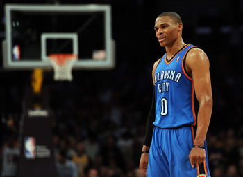 LOS ANGELES, CA - JANUARY 17:  Russell Westbrook #0 of the Oklahoma City Thunder waits for play during the game between the Los Angeles Lakers at the Staples Center on January 17, 2011 in Los Angeles, California.   NOTE TO USER: User expressly acknowledge