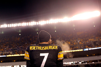 PITTSBURGH, PA - JANUARY 23:  Quarterback Ben Roethlisberger #7 of the Pittsburgh Steelers looks on against the New York Jets during the 2011 AFC Championship game at Heinz Field on January 23, 2011 in Pittsburgh, Pennsylvania. The Steelers won 24-19. (Ph