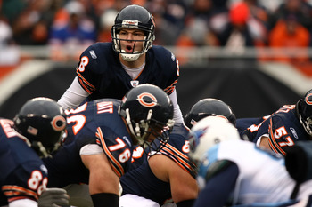CHICAGO - NOVEMBER 09:  Rex Grossman #8 of the Chicago Bears calls out signals at the line of scrimmage against the Tennessee Titans at Soldier Field on November 9, 2008 in Chicago, Illinois.  (Photo by Jonathan Ferrey/Getty Images)