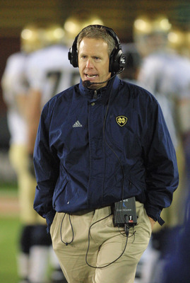 24 NOV 2001:  Notre Dame head coach Bob Davie watches his team in the first half against Stanford at Stanford Stadium in Palo Alto, California. DIGITAL IMAGE.  Mandatory Credit: Scott Halleran/ALLSPORT