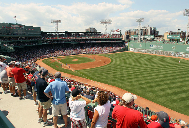 BOSTON - AUGUST 01:  A view from the right field during the game between the Detroit Tigers and the Boston Red Sox on August 1, 2010 at Fenway Park in Boston, Massachusetts.  (Photo by Elsa/Getty Images)