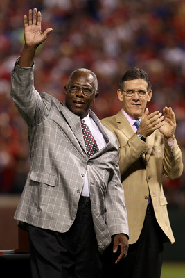 ARLINGTON, TX - OCTOBER 31:  Hall of Famer Hank Aaron waves to crowd prior to the Texas Rangers taking on the San Francisco Giants in Game Four of the 2010 MLB World Series at Rangers Ballpark in Arlington on October 31, 2010 in Arlington, Texas.  (Photo