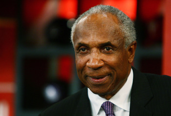 SECAUCUS, NJ - JUNE 07:  Hall of Famer Frank Robinson attends the MLB First Year Player Draft on June 7, 2010 held in Studio 42 at the MLB Network in Secaucus, New Jersey.  (Photo by Mike Stobe/Getty Images)
