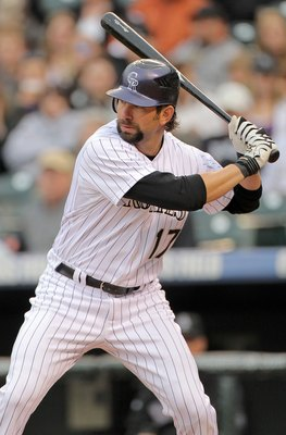 Helton has been with the Rockies since 1997, spanning his entire career.