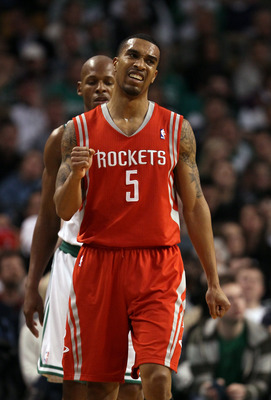 BOSTON, MA - JANUARY 10:  Courtney Lee #5 of the Houston Rockets celebrates a shot against the Boston Celtics on January 10, 2011 at the TD Garden in Boston, Massachusetts.  The Rockets defeated the Celtics 108-102. NOTE TO USER: User expressly acknowledg