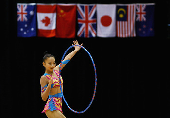 SYDNEY, AUSTRALIA - JANUARY 15: Dou Baobao of China performs during Rhythmic Gymnastics on day two of the Australian Youth Olympic Festival at the Sydney Olympic Park Sports centre on January 15, 2009 in Sydney, Australia.  (Photo by Mark Nolan/Getty Imag