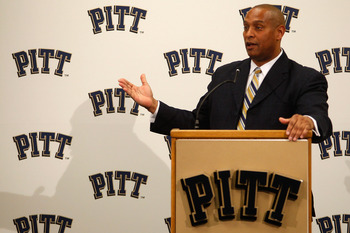 PITTSBURGH - DECEMBER 16:  The new University of Pittsburgh head football coach, Mike Haywood, speaks during a press conference on December 16, 2010 at the University of Pittsburgh Panthers South Side training facility in Pittsburgh, Pennsylvania.  (Photo