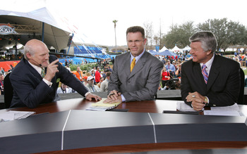 JACKSONVILLE, FL - FEBRUARY 06:  FOX sportscasters Terry Bradshaw, Howie Long and Jimmy Johnson speak in the FOX Braodcast booth during the XXXIX Superbowl pregame show at Alltel Stadium on February 6, 2005 in Jacksonville, Florida.  (Photo by Frank Micel