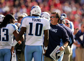 SAN FRANCISCO - NOVEMBER 08:  Head coach Jeff Fisher of the Tennessee Titans congratulates Vince Young #10 after Young ran in for a touchdown against the San Francisco 49ers at Candlestick Park on November 8, 2009 in San Francisco, California.  (Photo by