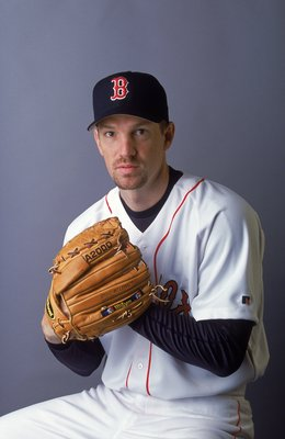 25 Feb 2001:  Pete Schourek #50 of the Boston Red Sox poses for a studio portrait during Spring Training at the City of Palms Park in Fort Myers, Florida.Mandatory Credit: Rick Stewart  /Allsport
