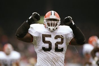 19 Nov 1995: Linebacker Pepper Johnson of the Cleveland Browns celebrates during a game against the Green Bay Packers at Cleveland Stadium in Cleveland, Ohio. The Packers won the game, 31-20.