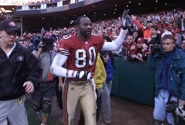 17 Dec 2000: Jerry Rice of the San Francisco 49ers waves to the crowd after the Chicago Bears game at 3Comm Park in San Francisco, California. San Francisco won 17-0. DIGITAL IMAGE. Mandatory Credit: Jed Jacobsohn/ALLSPORT