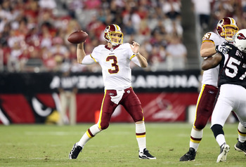 GLENDALE, AZ - SEPTEMBER 02:  Quarterback John Beck #3 of the Washington Redskins drops back to pass during preseason NFL game against the Arizona Cardinals at the University of Phoenix Stadium on September 2, 2010 in Glendale, Arizona. The Cardinals defe
