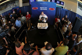 MIAMI GARDENS, FL - FEBRUARY 02:  Jeremy Shockey #88 of the New Orleans Saints speaks to members of the media during Super Bowl XLIV Media Day at Sun Life Stadium on February 2, 2010 in Miami Gardens, Florida.  (Photo by Doug Benc/Getty Images)