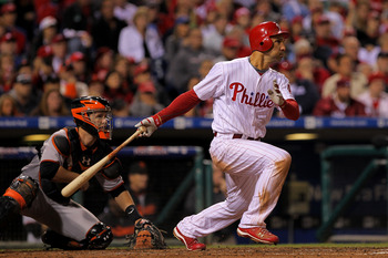 PHILADELPHIA - OCTOBER 23:  Raul Ibanez #29 of the Philadelphia Phillies hits a single in the eighth inning against the San Francisco Giants in Game Six of the NLCS during the 2010 MLB Playoffs at Citizens Bank Park on October 23, 2010 in Philadelphia, Pe
