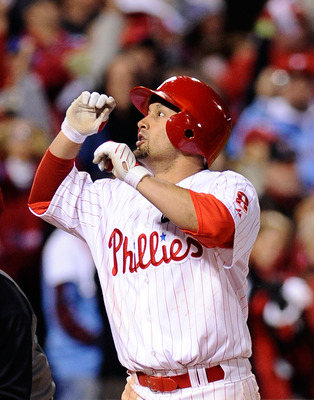 PHILADELPHIA - OCTOBER 18:  Shane Victorino #8 of the Philadelphia Phillies celebrates his three-run home run against the Los Angeles Dodgers in Game Three of the NLCS during the 2009 MLB Playoffs at Citizens Bank Park on October 18, 2009 in Philadelphia,