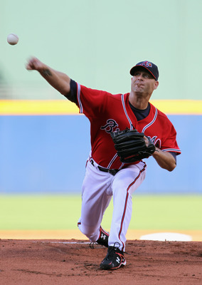 ATLANTA - OCTOBER 10:  Starting pitcher Tim Hudson #15 of the Atlanta Braves pitches during Game Three of the NLDS of the 2010 MLB Playoffs against the San Francisco Giants on October 10, 2010 at Turner Field in Atlanta, Georgia.  (Photo by Jamie Squire/G