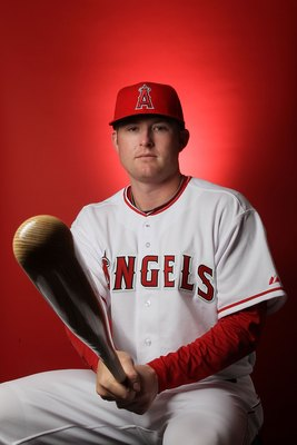 TEMPE, AZ - FEBRUARY 25:  Mark Trumbo of the Los Angeles Angels of Anaheim poses during media photo day at Tempe Diablo Stadium on February 25, 2010 in Tempe, Arizona.  (Photo by Jed Jacobsohn/Getty Images)