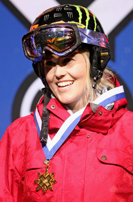 ASPEN, CO - JANUARY 23:  Sarah Burke of Whistler, Canada celebrates as she takes the podium after winning the gold medal in the Women's Skiing Superpipe at Winter X Games 13 on Buttermilk Mountain on January 23, 2009 in Aspen, Colorado.  (Photo by Doug Pe