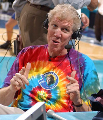 Bill Walton attempts to save fans from the boredom of a Game 7 by telling a tale of disputing bloodlines competing for the throne of ancient Gaul. He is doing this whilst wearing a shirt bearing his own picture.
