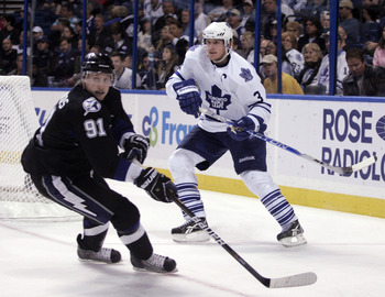 TAMPA, FL - JANUARY 25: Dion Phaneuf #3 of the Toronto Maple Leafs skates against Steven Stamkos #91 of the Tampa Bay Lightning at St. Pete Times Forum on January 25, 2011 in Tampa, Florida. The Lightning defeated the Leafs 2-0. (Photo by Justin K. Aller/
