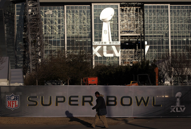 ARLINGTON, TX - JANUARY 27:  The logo for Super Bowl XLV outside of Cowboys Stadium on January27, 2011 in Arlington, Texas.  Cowboys Stadium will host Super Bowl XLV on February 6, 2011 between the Pittsburgh Steelers and the Green Bay Packers in Dallas,