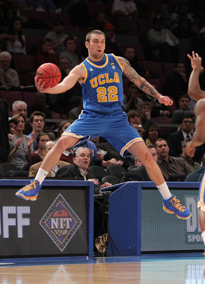 NEW YORK - NOVEMBER 24:  Reeves Nelson #22 of the UCLA Bruins keeps the ball in play against the Villanova Wildcats during their preseason NIT semifinal at Madison Square Garden on November 24, 2010 in New York City.  (Photo by Nick Laham/Getty Images)